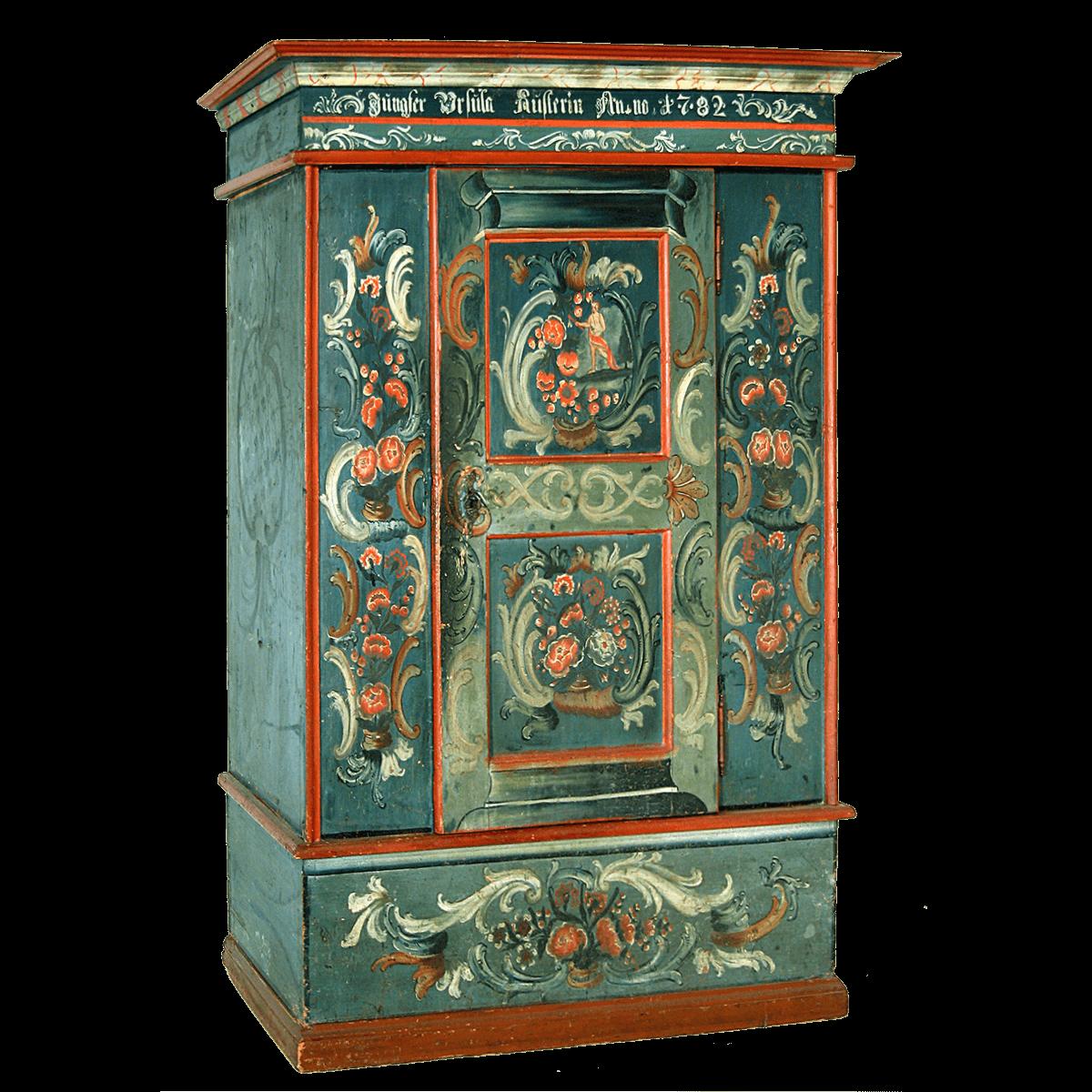 Armoire peinte baroque avec personnage