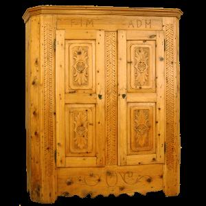 Armoire sculptée à 2 portes avec initiales FIM-ADM