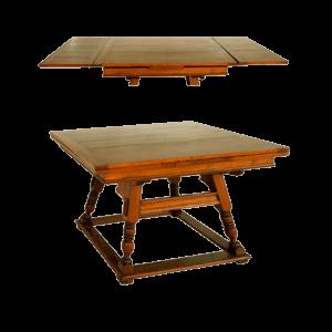 Table à rallonges et pieds tournés obliques