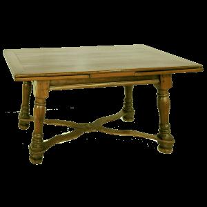 Table à rallonges Louis XIII à pieds évasés et entretoise en X