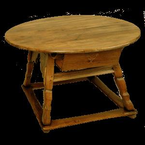 Table ronde à pieds taillés obliques et fleurs incrustées sur le tiroir