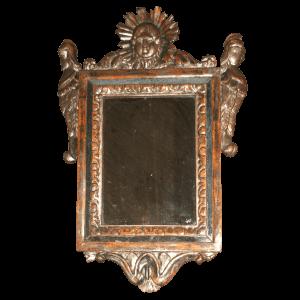 Miroir sculpté, doré et argenté
