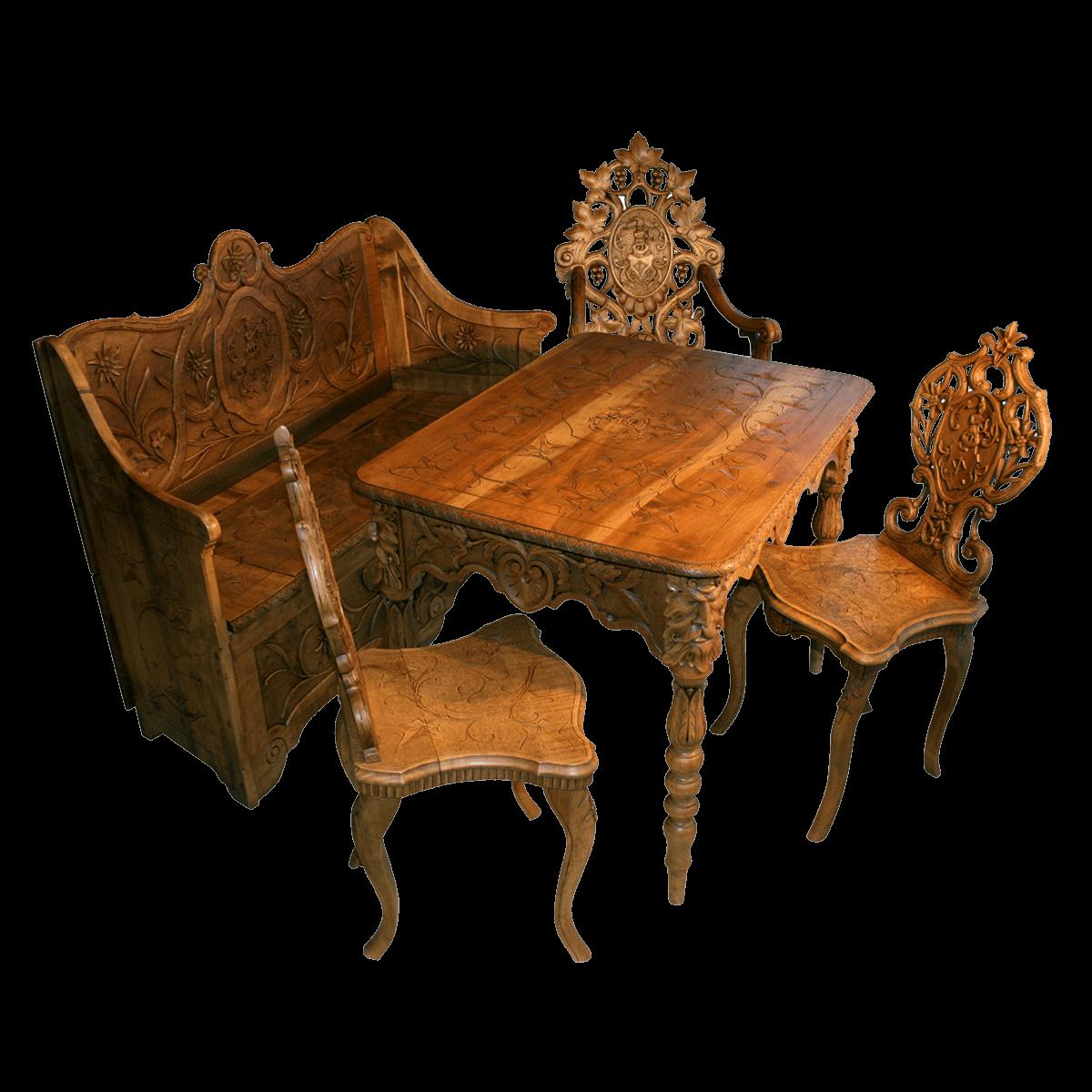 Rare ensemble de mobiliers de Brienz sculpté