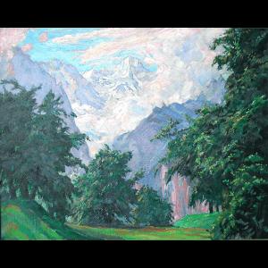 Le Breithorn dans les nuages, Suisse