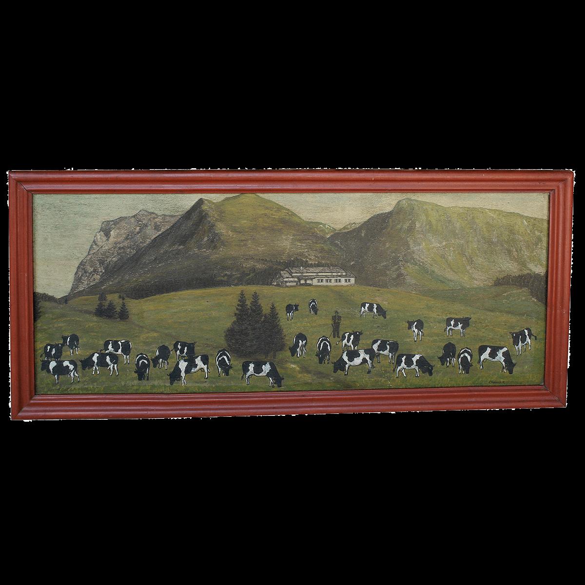 Scène sur l'alpage peinte par André Chassot