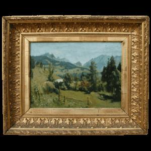 Huile sur panneau d'Albert Darier (1843-1915)